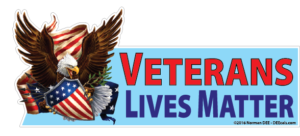A DEEcal featuring an Eagle with outstretched wings, flanked by an unfurled flag. Text beside it reads 'Veterans Lives Matter'.