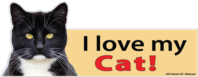 A Tuxedo Cat DEEcal that reads 'I love my Cat!'