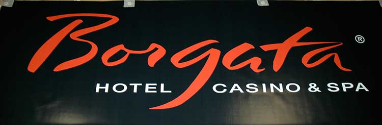 close up of a banner that reads 'Borgata Hotel Casino & Spa'