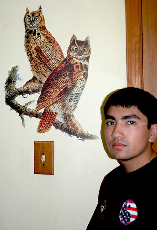 webmaster/marketer Jonathan shown with Audubon's 'Great Horned Owls