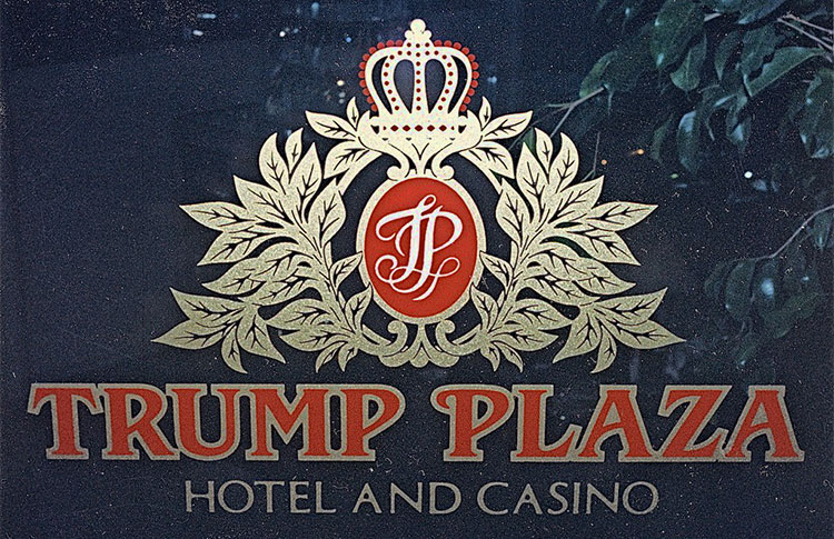 screen printed glass with 'Trump Plaza Hotel and Casino' and the Trump Plaza logo
