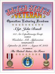 Operation: Enduring Freedom Veteran