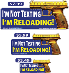 Im Not Texting, Im Reloading! deecal, deecals, text, texting, message, messages, while, during, drive, driving, reload, reloading, reloads, not, warning, shot, shots, warning shots, Jericho941, Jericho, 941, Jericho 941