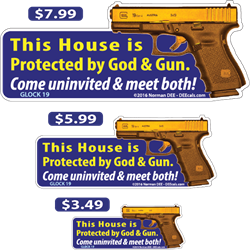 This House is Protected deecal, deecals, house, protected, protection, god, gun, warning, shot, shots, warning shots, glock, 19, glock19, glock 19