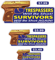 Survivors Will Be Shot Again deecal, deecals, trespassers, trespasser, survivor, survivors, warning, shot, shots, again, warning shots, ruger, cp, ruger cp